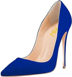 FSJ Womens FJ010001AA Pointed Toe High Heel Suede Pumps