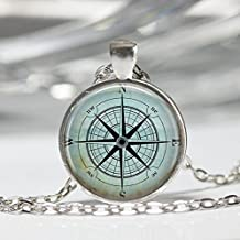Jewelry tycoon®Nautical Compass Necklace Compass Rose Mariner's Jewelry Nautical Ship Ocean Art Pendant