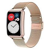 WATORY Pulsera compatible con Huawei Watch Fit, malla tejida de acero inoxidable, correa de metal, correa de repuesto para Huawei Watch Fit, oro rosa