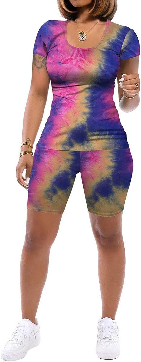 Women Two Piece Outfits Sets - Tracksuit Set Short Sleeve T Shirts + Skinny Short Pants Jogging Suits Romper