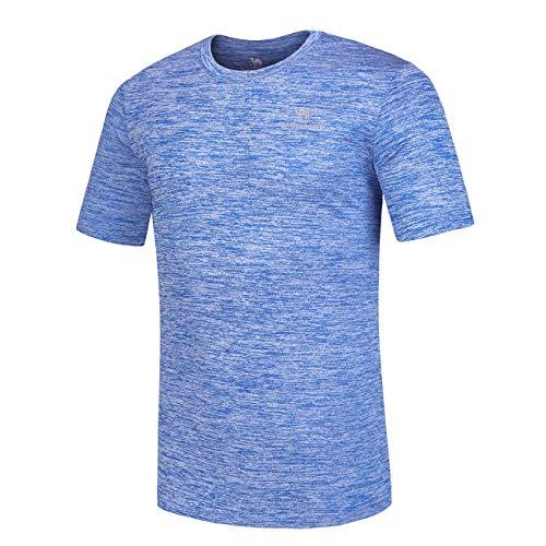 Herren Dry-Fit Feuchtigkeitstransportierendes Active Athletic Performance Crew T-Shirt - Blau - Klein