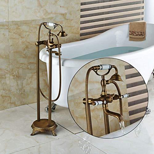 Duschsystem Messing Doppelgriff Bodenmontage Badewanne Mischbatterie Freistehende Clawfoot Badewanne Waschbecken Wasserhahn Schwenkauslauf 150 cm Brauseschlauch