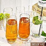 [6-Pack, 550ml/18.6oz] Design•Master-Hochwertige Highball-Gläser, Schweres Basis Hochbarglas, Trinkgläser für Wasser, Saft, Bier und Cocktail. - 2