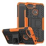 Sunrive Hülle Für Xiaomi Redmi 6A Tasche Schutzhülle Etui Hülle Cover Hybride Silikon Stoßfest Handyhülle Zwei-Schichte Armor Design Tasche mit schlagfesten mit Ständer Slim Fall(Orange)