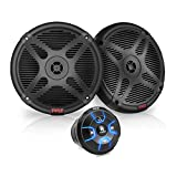 6.5'' Dual Marine Speakers Kit - Waterproof-Rated w/Amplified Bluetooth Remote Control Receiver for Powersport Vehicles, IP65 Marine Grade Rating, 600 Watt Max Power - Pyle PLMRKT8