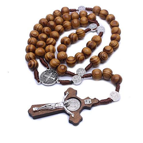 Collar de Rosario de Madera Hecho a Mano Antiguo de Moda, Cuentas de 10mm, Colgante de Cruz de aleación de Zinc de Cristo Jesús, Cadena de Sennit, joyería Religiosa