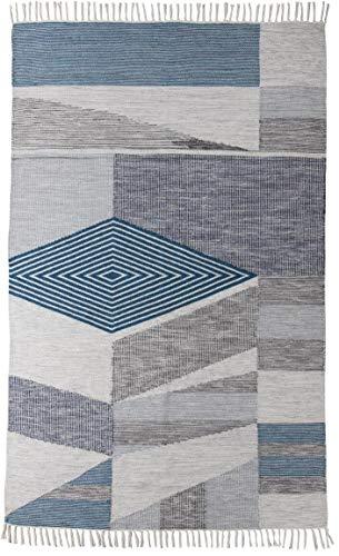 TOM TAILOR Vintage Kelim Teppich, Ethno Look, 80% Schurwolle & 20% Baumwolle, Farbe:Türkis, Größe:65 x 135 cm