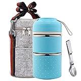 Bento Lunchbox, stapelbar, Edelstahl, isoliert, Lunchbox mit Lunchtasche und faltbarem Löffel, auslaufsichere Lunchboxen für Kinder, Erwachsene, Herren, Frauen 2 Tier blau
