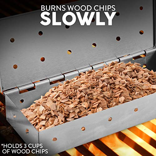 Kaluns BBQ Smoker Box for Wood Chips Great for Use on Your Gas or Charcoal Grill to add Delicious Smoked Flavor to Your Meat Hinged Lid Thick Stainless Steel WARP Free Grilling Accessory
