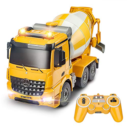 DOUBLE E Mercedes-Benz Licensed Remote Control Cement Mixer Truck 8 Channel RC Construction Vehicles Auto Dumping with Lights and Sounds