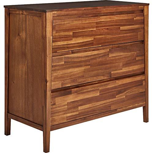 Meubletmoi Miso 8823 - Cómoda de 3 cajones de madera de acacia