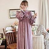 YUTRD ZCJUX De baño de Invierno Mujeres Largo Camisón Toma Vintage Princess Robe SPA Robes Lounge Suits Pijama Ropa de Invierno Mujer (Color : A, Size : X-Large)