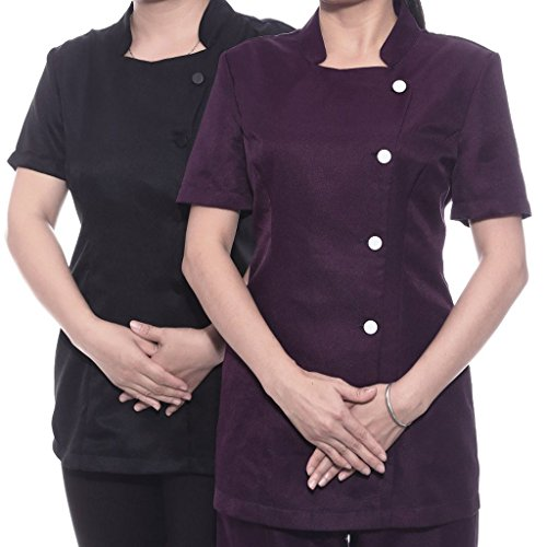 non-brand 2 Piezas Camiseta de Salón de Belleza de Mangas Cortas Cierre de Botón Delantero Uniforme de Masajista Peluqueros Bata de Trabajo - Negro, S