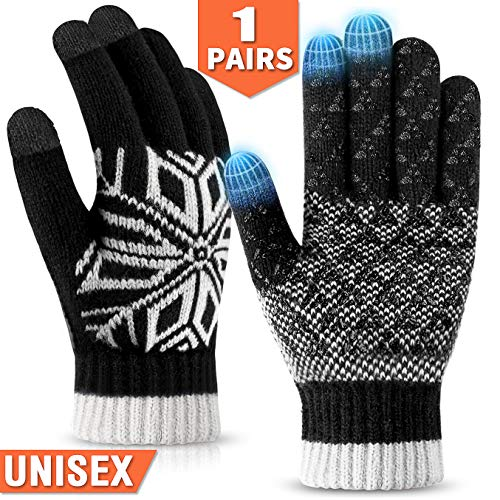 COOYOO Winter Gloves for Women and Men,Touchscreen Gloves,Warm Knit Wool,Anti-Slip Silicone Gel - Thickened Thermal Soft Wool Lining Elastic Cuff