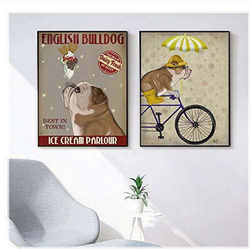 """NIESHUIJING afdrukken op canvas Bulldog IJs hond schilderwerk canvas foto's woonkamer hond fiets muurkunst retro poster 15.7""""x 23.6""""(40x60cm)x2 Geen lijst2"""