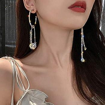 fxmimior Fashion Women Asymmetric Rhinestones Circle Earrings Tassel Long Chain Drop Dangle Earrings Bar Party Earrings for Women