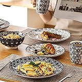 Vancasso, Haruka Kombiservice aus Porzellan, 40 TLG. Rund Geschirr Set, mit Kaffeebecher, Müslischale, Dessertteller, Flachteller und Tiefteller, Tafelservice für 8 Personen - 3