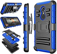 T-Mobile Revvl 2 Case Case, Alcatle 5052W / Alcatel 3 Holster Clip, Tekcoo [Hoplite] Shock Absorbing Swivel Locking Belt Defender Full Body Kickstand Carrying Armor Sturdy Phone Cases Cover [Blue]