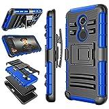 T-Mobile Revvl 2 Case Case, Alcatle 5052W / Alcatel 3 Holster Clip, Tekcoo [Hoplite] Shock Absorbing Swivel Locking Belt Defender Full Body Kickstand Carrying Armor Sturdy Phone Cases Cover [Blue]