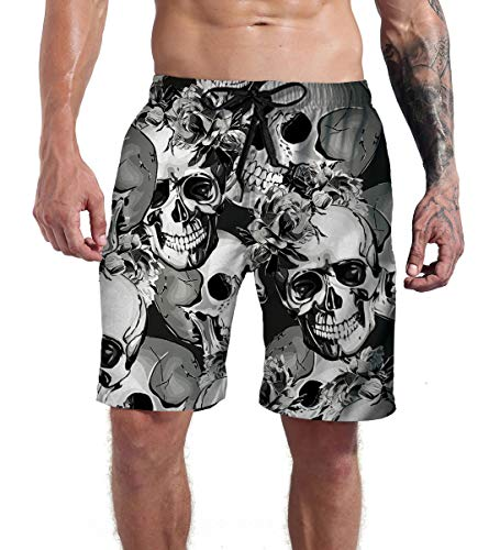 Goodstoworld Mens Skull Swim Trunks Gray Hipster Big and Tall Beach Halloween Board Shorts Casual Party Cruise Surfing Swimwear Pool Bathing Suit Swim Pants S