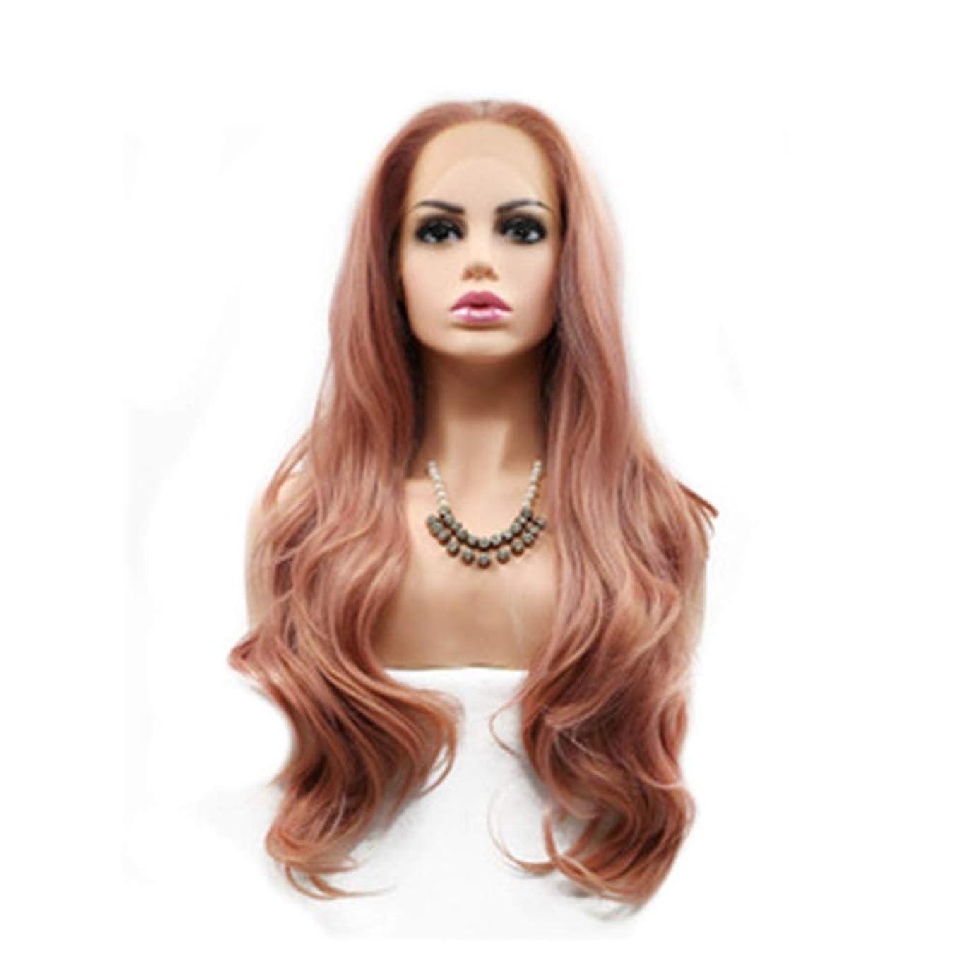 可塑性感じる急降下ZXF 女性のかつらローズゴールドカーリーヘアフロントレースケミカルファイバーかつらセット手動のレースの前に長い髪の巻き毛のメカニズムかつら 美しい