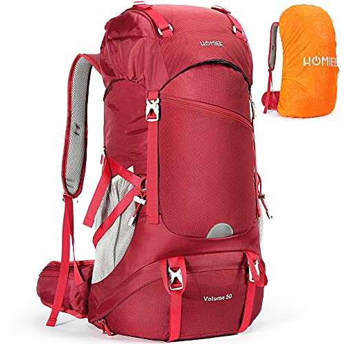 HOMIEE Hiking Backpack 50L Travel Camping Daypack with Rain Cover for Outdoor Sport, Backpacking, Hiking, Camping
