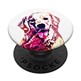 Colorful Cute Golden Retriever Dog Face Pop Art White Girls PopSockets PopGrip: Swappable Grip for Phones & Tablets