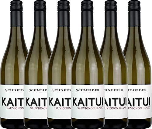 VINELLO 6er Weinpaket Weißwein - Kaitui Sauvignon Blanc 2019 - Markus Schneider mit Weinausgießer | trockener Weißwein | deutscher Sommerwein aus der Pfalz | 6 x 0,75 Liter