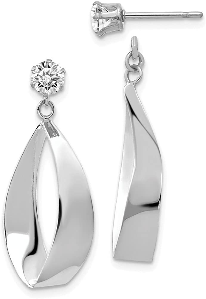 Solid 14k White Gold Oval Dangle with CZ Cubic Zirconia Stud Earring Jackets - 28mm x 11mm