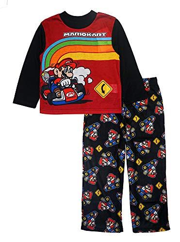 SUPER MARIO Boys' Mario and Bowser Two-Piece Pajama Set, Go Mario 2, 4