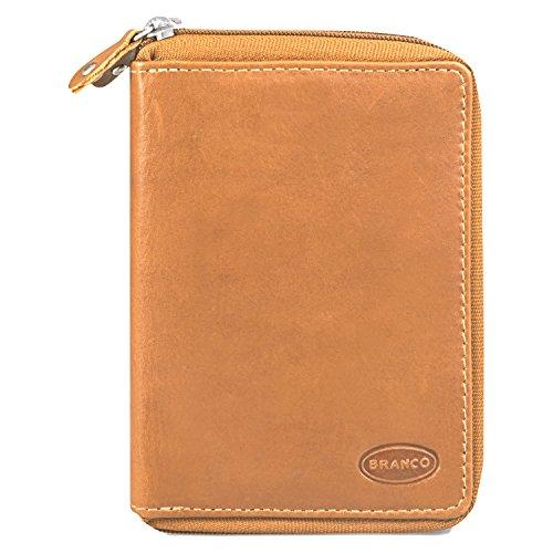 Große Geldbörse/Portemonnaie Größe L für Damen, aus Leder, Natur-Beige, Branco 230