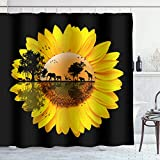 Irongarden Sunflower Shower Curtain Wild Floral Zoom Up On Black Background Wildlife Giraffes Elephants Sunset Beams Trees Print Art Home Decor Waterproof Bath Curtains with Hooks 72 x 72 inch