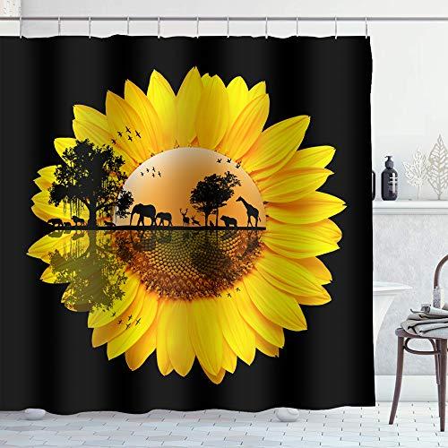 Irongarden Rustikaler Bauernhofduschvorhang mit Kuh-Motiv & amerikanischer Flagge auf Holzbrett, Badezimmerdekoration, wasserdichtes Polyester mit Haken, 182,9 x 182,9 cm 72″W ×78″L sonnenblume