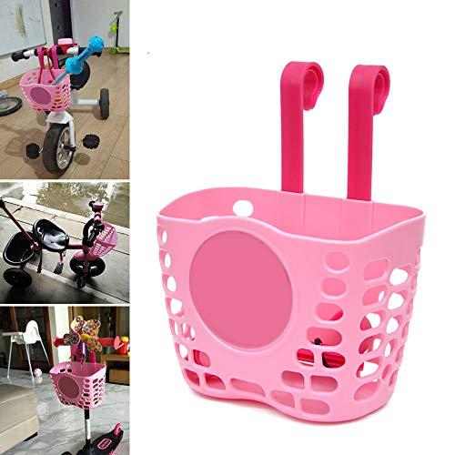 PopHMN Kid Fahrradkorb, Kinder Fahrrad Roller Lagerung Front Lenker Korb Pink für Kid Girls