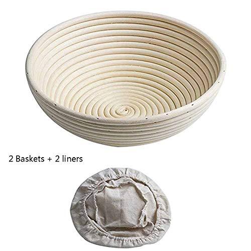 Teig Professionelles Backwerkzeug, Round Bread Proofing Basket Natürliche Rattanschale Mit Wäscheleine Zum Backen Zu Hause (2 Stück)