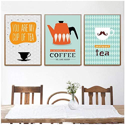 NIESHUIJING druk op canvas grappige theekop theepot brief canvas poster cartoon minimalistische kunst canvas schilderij koffie thee wand schilder-60x80 cm geen lijst