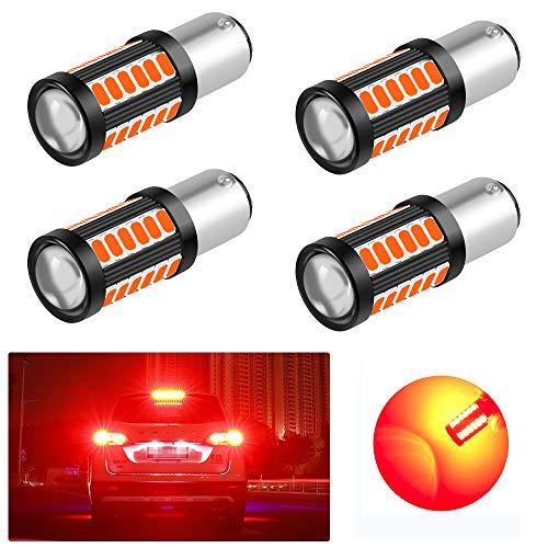 4PCS 1157 (BAY15D) 5730 33SMD 12-30V 3.6W Bombillas LED para Coche Súper Brillantes para Luz de Freno- Rojo