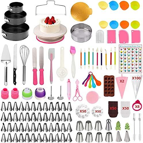 SUOTENG Kit De Plato Giratorio para Tartas , Placa de Pastel de plástico DIY Torta Espátula Pastel de Cocina Decoración de la Mesa de hornada giratoria