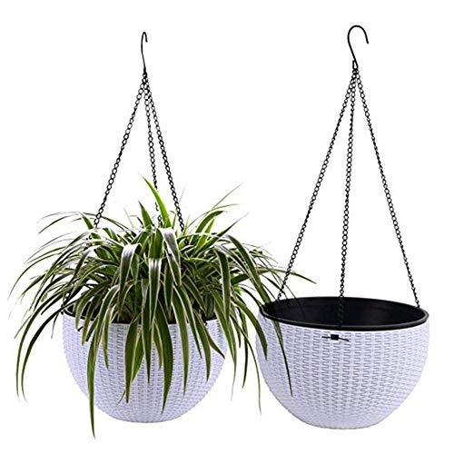 Firoya 2 Stück Hängepflanztopf Selbstbewässerung Blumentopf zum Aufhängen,Rattan-Optik Blumenampeln Plastik Rund Pflanzenampel für Innen- und Außenbereiche, Weiß