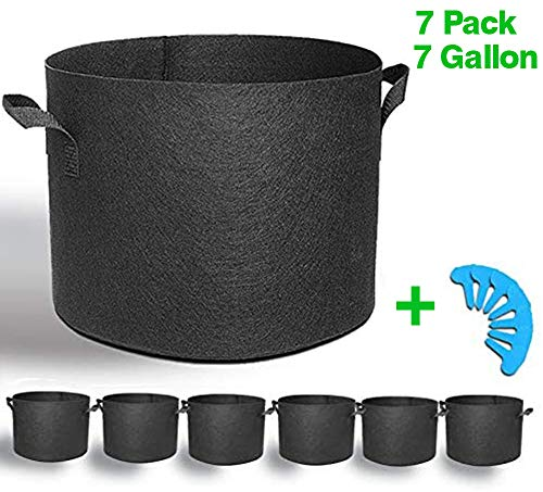 EACHON 7 Gallon 7-Pack Fabric Grow Pots Planting Pots Non-Woven Fabric Planter for Gardening with Handles Black (7 Gallon -7 Pack)