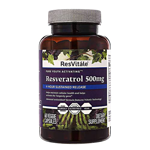ResVitale Resveratrol 500mg - Anti Aging Skin Care Antioxidants Supplement for Heart Health & Daily Immune Support - Natural Trans Resveratrol Supplement with Grape Extract & Quercetin, 60 Veggie Caps