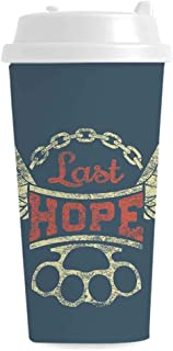 Vintage Individual Travel Mugs,Grunge Label Wings Chain Brass Knuckles Last Hope Quote for Bikers for Gym,4