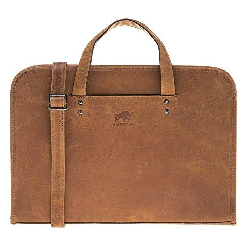 Solo Pelle Leder Aktentasche I Businesstasche I Arbeitstasche I Reisetasche I Tasche Pergamon in Camel Braun