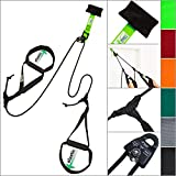 eaglefit Sling-Trainer Base Elastic, Fitnessgerät, Schlingentrainer inkl. Umlenkrolle und Türanker, Längenverstellung 80-155 cm (Happy Green)