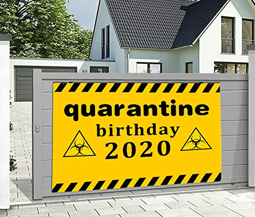 Quarantine Birthday Decorations,2020 Birthday Quarantine Banner, and Social Distancing Banner Stay Home Backdrop Decorations,Birthday Party Sign (3X5ft)