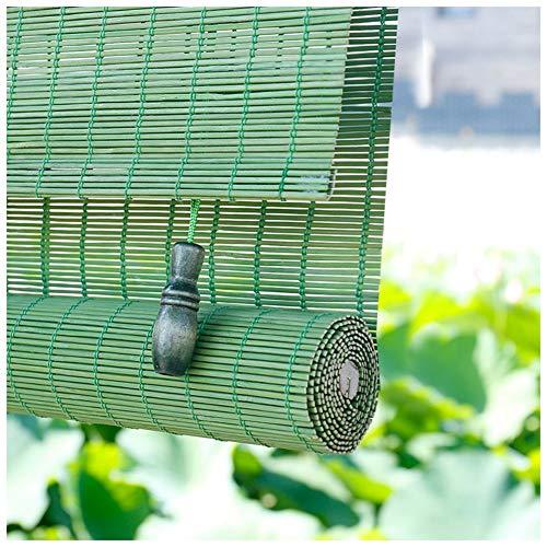 LIANGJUN bamboe gordijn rolgordijn rolgordijn Romeinse venster tinten opknoping schilderij weven glad Roll Type ademend balkon gang restaurant groen, op maat gemaakt