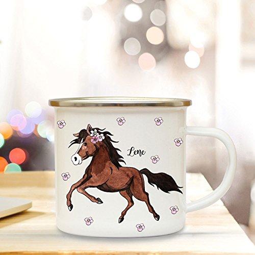 ilka parey wandtattoo-welt Emaille Becher Camping Tasse mit Pferd Pferdchen & Name Kaffeetasse Geschenk Kaffeebecher eb77