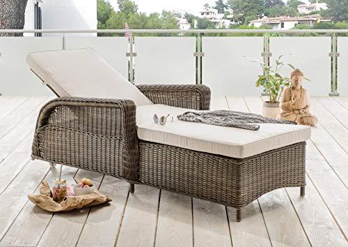 Destiny Liege Casa Luna Vintage Braun Polyrattan Gartenliege Relaxliege & Polster Anthrazit