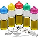 5pcs empty 100ml/120ml PET ejuice bottle Unicorn dropper bottle Vape bottle DIY Eliquid bottle (White transparent + Color cap, 120ML X 5PCS)