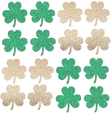 Glitter Shamrock St Patrick s Day Decorations Green Gold Foam Shamrocksfor Saint Patrick s Day product image